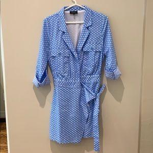 Majorelle dress • blue with white polka dots